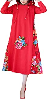 Abetteric Womens Long Sleeve Outwear Hood Pockets Loose Chic Soft Floral Printing Dress
