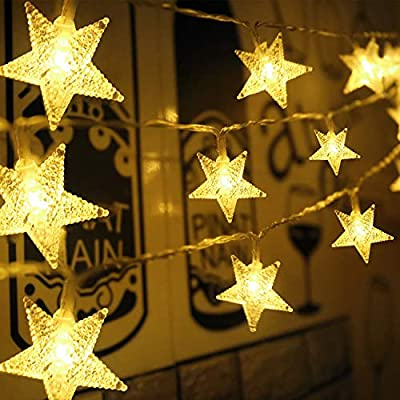 Aluan Star String Lights 50 LED 21FT+3.2FT Christmas Lights, USB & Battery Operated Waterproof Twinkle Fairy Lights with 8 Modes for Indoor Outdoor Home Garden Party Wedding Christmas Tree(Warm White)