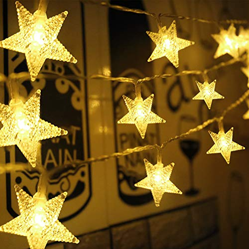 Aluan 50 LED Star String Lights 21FT+3.2FT Christmas Lights, USB & Battery Operated Waterproof Twinkle Fairy Lights with 8 Modes for Indoor Outdoor Home Garden Party Wedding Christmas Tree(Warm White)