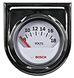 Bosch SP0F000043 Style Line 2' Electrical Voltmeter Gauge (White Dial Face, Chrome Bezel)