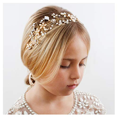 SWEETV Flower Girl Headband for Wedding, Baby Girl Flower Pearl Hair Piece, Gold Headpiece for Birthday Party, Photography