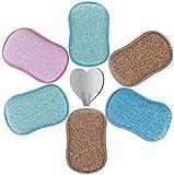 6pcs Eponges Vaisselle Lavable Grattante Microfibre Ecologique Tampons Antibactérienne Non Odor Brosse Ideal pour Menage Poêles Pots avec Crochet Adhésif