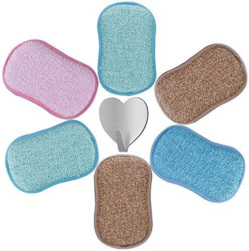 6pcs Eponges Grattante Antibactérienne Tampons Microfibre Non Odor Brosse Ideal pour Poêlons Antiadhésifs Poêles Pots avec Crochet Adhésif