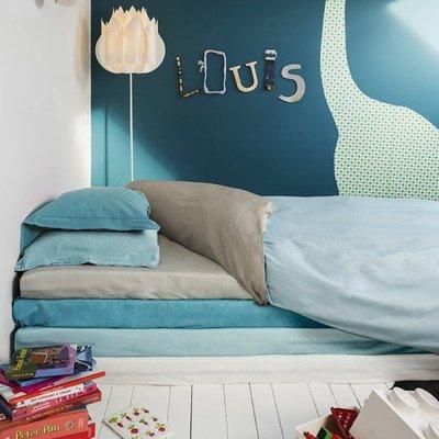 Louis Le Sec - Housse de couette imperméable et anti-acariens - Mixte Enfant - Multicolore (Grey Wood/Morning Blue) - 100x140cm
