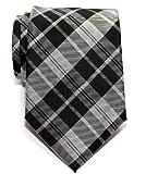 Retreez Modern Tartan Plaid Check Styles Woven Microfiber Men's Tie - Black and Grey