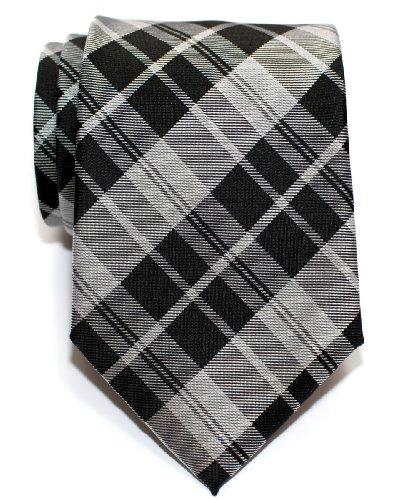 Retreez Corbata de microfibra con estampado a cuadros moderna para hombres Negro y gris
