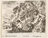 Art Print : Plate 23: a Satyr Sitting Against a Tree to Right and Holding a Flute in his Right Hand - Artist: Stefano Della Bella - Created: c1644 1 : Vintage Wall Décor : 14in x 11in