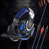 Marxways Gaming Headset 3,5-mm-Over-Ear-Stereo-Gaming-Kopfhörermikrofon Für N-Switch-Ohrhörer mit Mikrofon, LED-Licht, Bass-Surround und Soft Memory-Ohrenschützern für Mac-PS3-Spiele