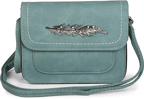 styleBREAKER kleine schoudertas met veertoepassing op flap, schoudertas, tas, dames 02012151, Farbe:Lichtblauw