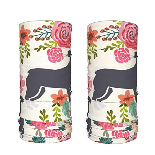 Pitbull - Calentador de cuello con diseño de raza de perro floral, resistente al viento, para invierno, para hombres y mujeres (2 paquetes)
