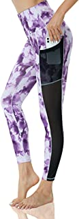 YGOODM Womens Tie-Dye Tummy Control Leggings High Waist Yoga Pants Buff Lifting Mesh with Pockets Tights
