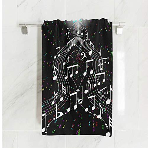 ARRISLIFE Microfiber Toallas de baño Music Notes Toallas de Playa Ligero Grande Toalla de Viaje 80 x 163 cm