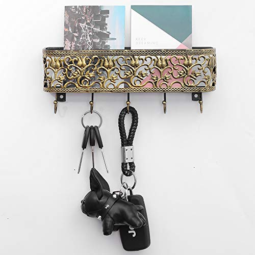 OAKEER Wall Mount Mail Holder and Key Hooks,Golden Basket with Hanging Key Rack Holder for Organizing Keys Mail and Other Small Objects.Retro Golden
