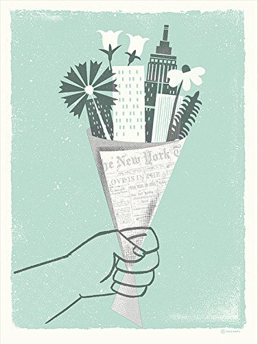 アメリカ ブルックリン発 TWO ARMS (トゥーアームズ) おしゃれ インテリア アートプリントポスター シルクスクリーン Lサイズ Bouquet City NYC L ブーケットシティ ニューヨーク L LP-BC001