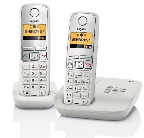 Gigaset A400A Duo Dect-Schnurlostelefon mit Anrufbeantworter, incl. 1 zusätzlichen Mobilteil), hellgrau