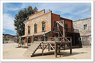 Barewalls Gallow and Saloon in an Old American Western Town Paper Print Wall Art (12in. x 18in.)