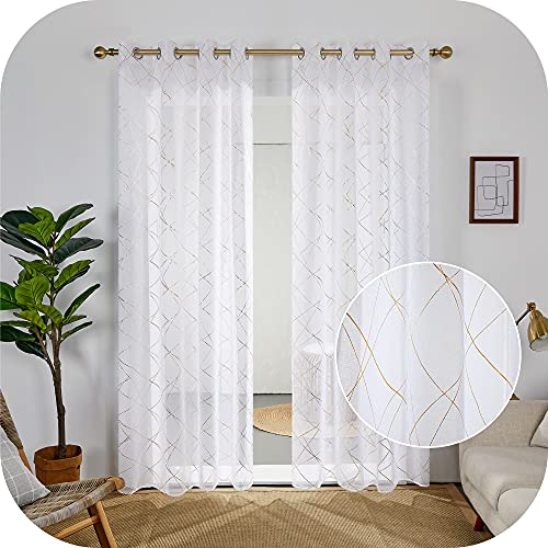 Amazon Brand - Umi Cortinas Habitacion Salon Visillos Translucidas Modernas 2 Piezas Blancas 140x260cm
