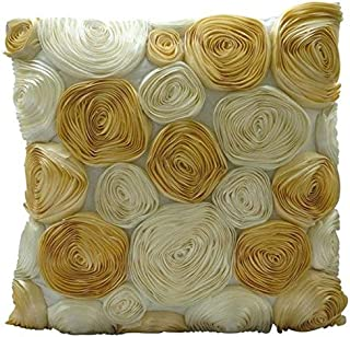 The HomeCentric Decorative Ivory Couch PillowCases 16x16 inch, Silk Throw Pillows for Couch, Nature & Floral, Ribbon Embroidery, Modern Cushion Coverwith Zipper - Gold N Ivory Blooms