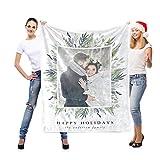 LNM Personalisierte 1 Fotodecke Weiche Decken Geburtstag Hochzeit Weihnachts Geschenk Eigene Bilder für Erwachsenes Baby Haustier,43'x43'(110cm×110cm)