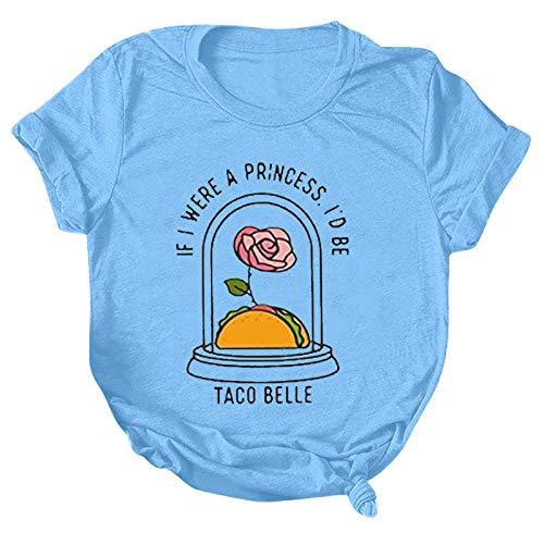 YANFANG Camisetas Manga Corta Mujer,Mujeres Casual Letter Print O-Cuello Camiseta Suelta Blusa Tops,Camisa con Hombros Descubiertos,Camisetas Mujer Originales,Vino,Negro,Azul,S/M/L/XL/XXL