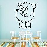 Tianpengyuanshuai Lindo Cerdo Etiqueta de la Pared Vinilo Papel Tapiz decoración Fondo Pared Arte calcomanía 30X39cm