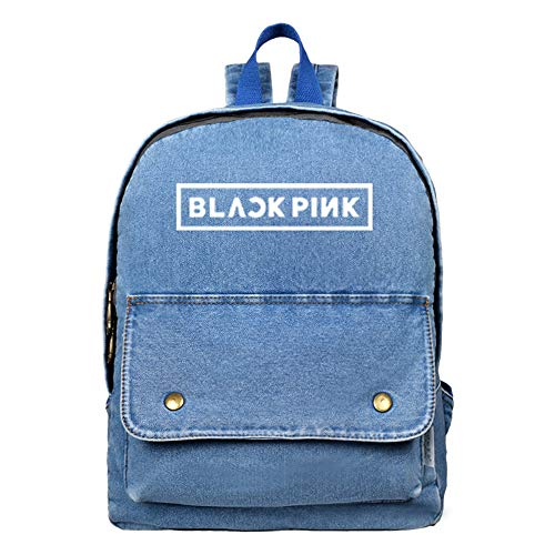 Blackpink Pullover Denim School Bags Personality Retro Mochila Populares Daypacks Impreso Unisex (Color: A01, Tamaño: 30 x 10 x 38 cm)