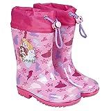 Botas Agua Princesas Disney - Botines Niñas Impermeables Cenicienta Rapunzel Jasmine - Suela Antideslizante Morada y Cierre Cordón - Rosa Purpurina - 5 Tallas - Perletti (Rosa, 28/29 EU)