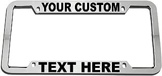 Speedy Pros Custom Personalized License Plate Frame Zinc Metal Car Tag Holder Chrome 4 Holes