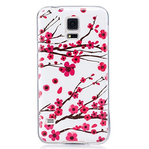 ISAKEN Funda para Samsung Galaxy S5, Slim Carcasa de Silicona TPU Luminosos Fluorescentes En La Oscuridad Trasera Bumper Case Cover Funda Cáscara para Samsung Galaxy S5 / S5 Neo (Flor Rosa)