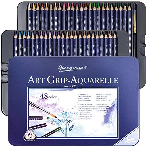 48 Crayons Aquarellables, Crayon de Couleurs Aquarelle avec Système Anti-casse pour Enfants ou Adultes, Crayon de Couleurs Professionnel Hydrosolubles pour Mélanger, Superposer et Aquarelle