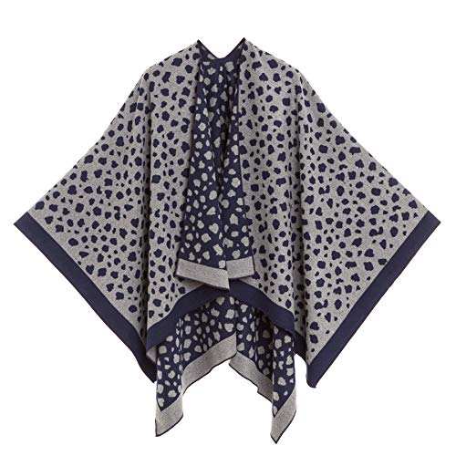 Women's Shawl Wrap Poncho Ruana Cape Cardigan Sweater Open Front for Fall Winter (PC04-2)