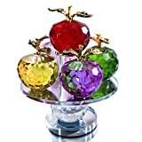5.1inches Height, 5 Colors Crystal Faceted Apples Ornament, Glass Apple Figurines Collectibles with Rotatable Base for Home Table Decor