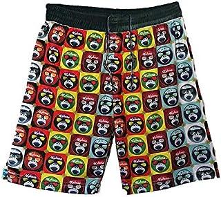 Kahuna Store Bañador de Hombre y niño para un Look Surfero, con Cordón Negro y Logos Multicolor, un Bolsillo Lateral con Cierre de Velcro, Cintura Elástica, en Multiple Colores, Talla XS-L