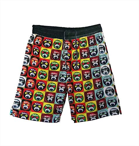 Kahuna Store - Bañador Multicolor Hombre/niño (Rojo,Negro, L)