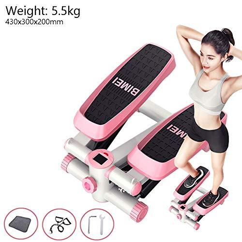 Aprilhp Mini Stepper, Stepper Up-Down Máquina de Step para Fitness, Carga-150KG, Maquinas de Gimnasio para Casa, Stair Stepper con Cuerdas de Resistencia para Mujeres y Hombres