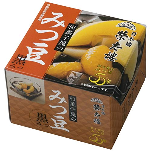 榮太樓 えいたろう 和菓子屋のみつ豆 黒みつ 缶 225g (6号) 1ボール(6缶入)