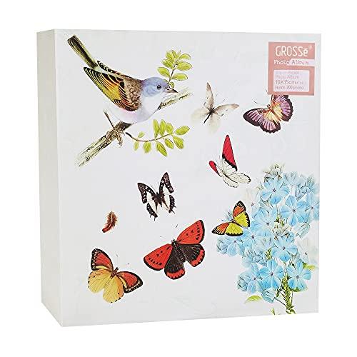 GROSSē Álbum de fotos grande vintage con estampado de mariposas, 200 unidades