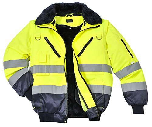 Portwest Warnschutzjacke 4-in-1 Funktion Arbeitsjacke Winterjacke, Warnschutz, gelb/orange-Marine (L, gelb/Marine)