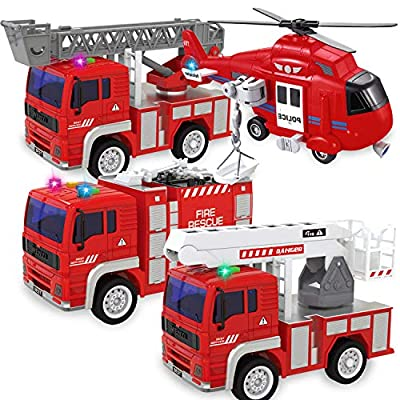 Tcvents 4 Pack City Fire Trucks Friction Powered Kids Car Toys for 3 Year Old Up Boys 1:20 Scale Big Size Ladder Fire Truck, Helicopter, Fire Engine, Boom Life Truck City Rescue Vehicles Play Set by Made in China