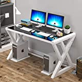 Glass Computer Desk with Metal Frame, Home Office Desks Computer Table Modern Simple Office Study Gaming Work Writing Desk Table for Home Office(X-White&Black-55.1inch)
