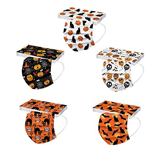 Hundakvy 50 piezas Halloween Infantiles_Mascarillas_Desechables niños Protección_de_3_Capas Calabaza Murciélago Bruja Fantasma Estampado para Víspera de Todos los Santos (15)