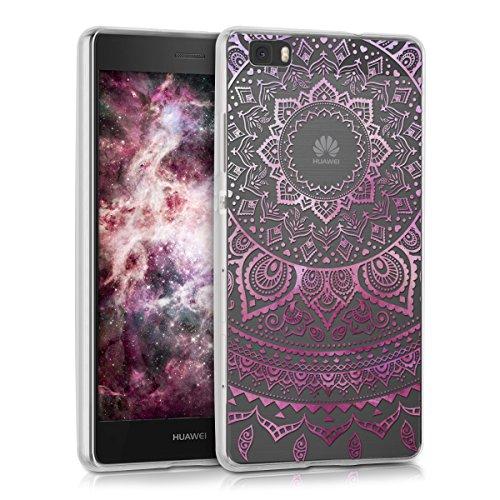 kwmobile Funda Compatible con Huawei P8 Lite (2015) - Carcasa de TPU y Sol hindú en Rosa Fucsia/Transparente
