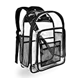 Heavy Duty Black Clear Backpack, Carry360 Durable Transparent Backpack, See Through Bookbag for Work