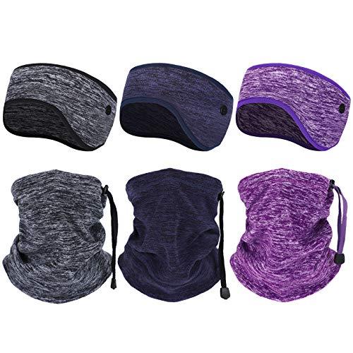 6 Pieces Winter Ear Warmer Headband Winter Neck Gaiter for Cold Weather Running Sports Sweatband Non Slip Fleece Headband Ear Cover Muffs for Girls Women Men Activity (Gray, Navy Blue, Purple)