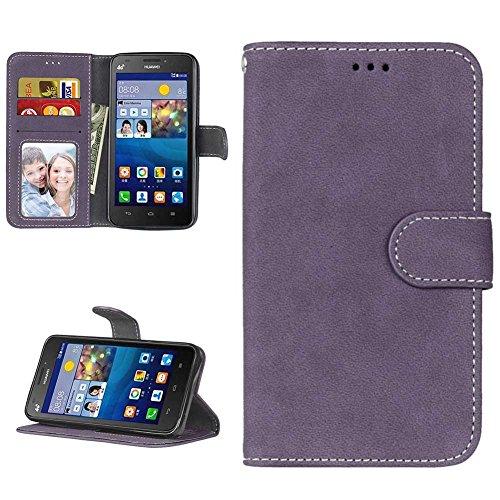 Huawei Y635 Hülle Leder Tasche, Huawei Y635 Handyhülle Klassisch Brieftasche Stoßfest Schutzhülle Elegant Handytasche Flip Hülle Cover Magnetverschluss Schale Standfunktion, Lila