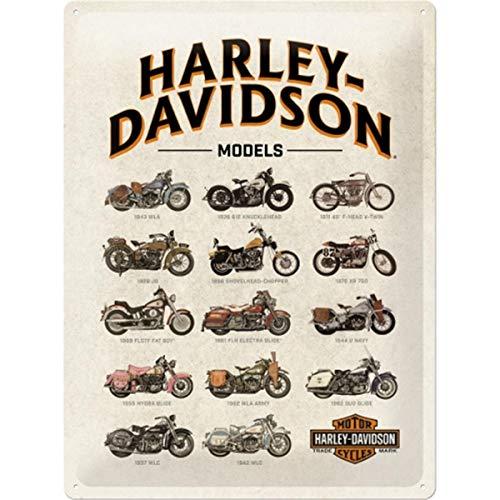 Nostalgic-Art Cartel de Chapa Retro Harley-Davidson – Model Chart – Idea de Regalo para los Fans de Las Motos, metálico, Diseño Vintage, 30 x 40 cm