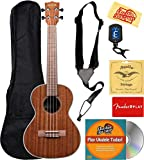 Kala KA-TG Gloss Mahogany Tenor Ukulele Bundle with Gig Bag, Tuner, Strap, Strings, Fender Play Online Lessons, Austin Bazaar Instructional DVD, and Polishing Cloth