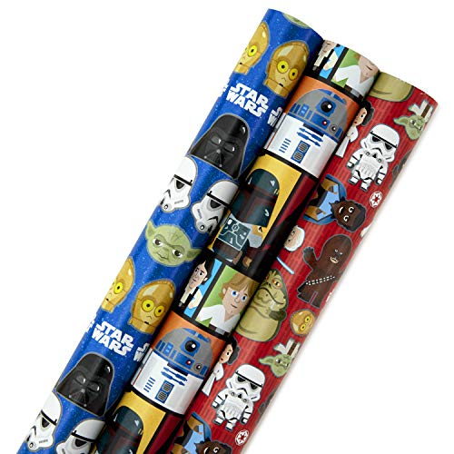 Hallmark Star Wars Wrapping Paper with Cut Lines (Pack of 3, 105 sq. ft. ttl.) for Birthdays, Christmas or Any Special Occasion