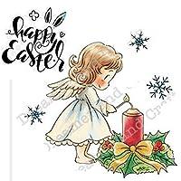 天使の女の子透明シリコンクリアラバースタンプシートしがみつくスクラップブッキングDIYかわいいパターンフォトアルバム紙カードの装飾