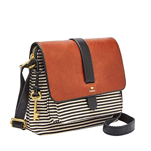 Fossil Women's Kinley Leather/Fabric Small Crossbody Handbag, Black Stripe